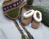 Creme Brulee Baby Huggs and Earflap Hat - 2 Infant Sizes