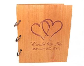 Wooden Wedding Guest Book Photo Album LARGE SIZE - Double Heart Design