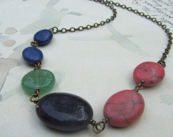 Multi Stone Gold Choker, Beaded Necklace, Blue, Green, Pink, Everyday Necklace