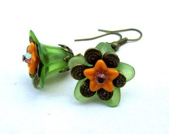 Victorian Dangle Earrings, Lucite Flower Jewelry, Green Earrings