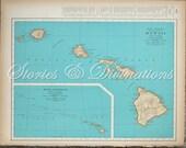 Hawaii - Vintage Map of Hawaii - Original 1940s Vintage Map of Hawaii in Aqua - Cottage Chic - Honeymoon