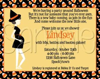 25 5x7 Halloween Candy Corn Baby Shower Invitation