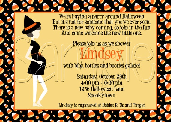 25 5x7 halloween candy corn baby shower invitation