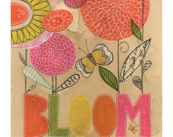 Bloom Bold & Bright - 8 x 10 GICLEE PRINT, typographic, botanical, collage, Susan Black
