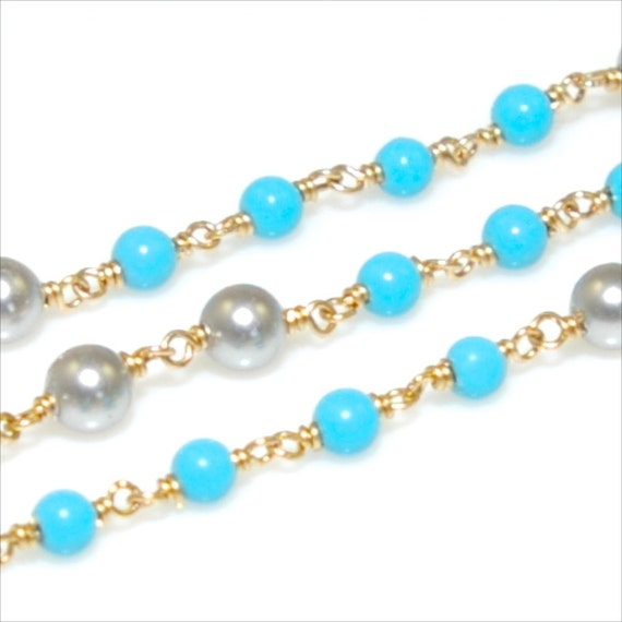 14K Gold Filled Gray Pearl and Turquoise Gemstone Chain (18 Inches)