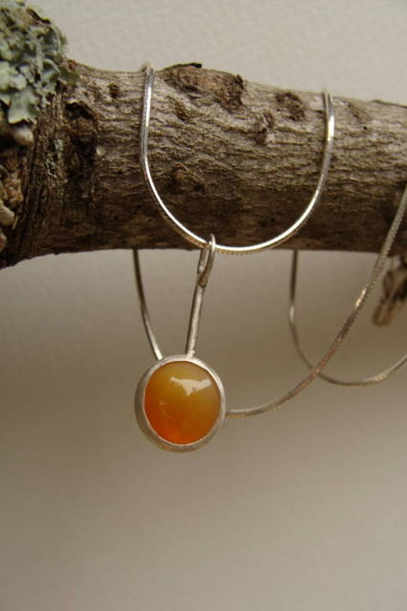 Fire Opal Silver Handcrafted Necklace