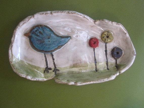 Whimsical Blue Bird Soap Dish or Spoon rest