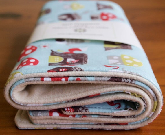Organic Burp Cloth, Set of Two in ELVENDALE, Toadstools Spit Happens Burp Cloths Gift Set of 2 by Organic Quilt Company