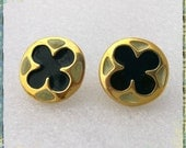 Vintage 1980s Piccina Aimicci Earrings - New on Original Card - Nickel Free - Lucky Four Leaf Clover - Pierced Studs