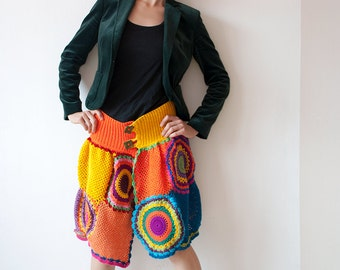 Bright Knee Length Skirt - Yellow and Orange - MADE TO ORDER
