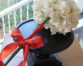 Wedding Bouquet-White Paper Hydrangea Tied with An Orange Bow