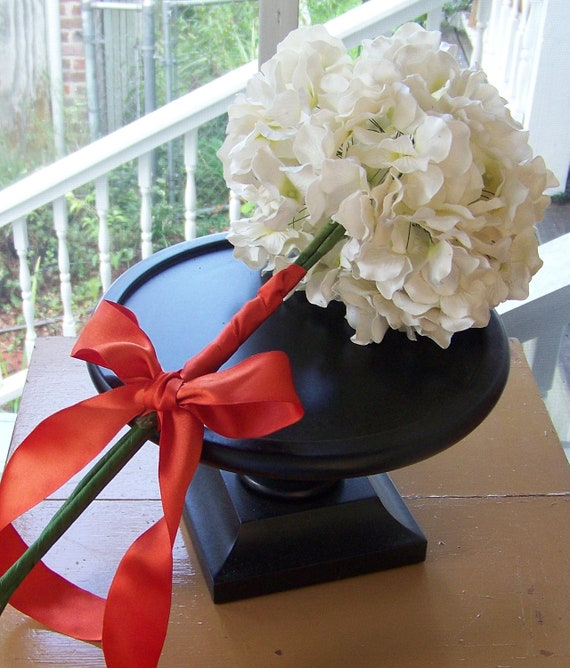 Wedding Bouquet-White Paper Hydrangea Tied with An Orange Bow