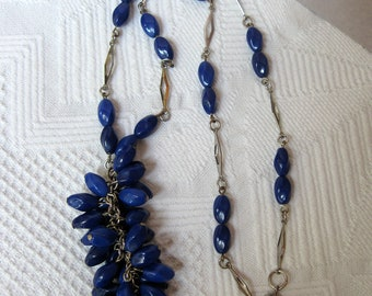 Tassel Necklace of Faux Lapis Blue Twisted Glass Beads with Silver Diamond Shaped Links