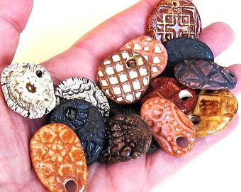 15 Ceramic Pendants On Sale-15 Rustic Ancient Look Stoneware Mix