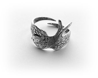 SILVER RING - Silver Wrapped Sparrow Bird Ring - Antique Silver Ox Brass Ring - Adjustable (RB-2)