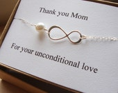 Thank You Mom Infinity  Bracelet - Mother of Bride or Groom, Eternity Bracelet, Wedding Special Gift, Jewelry Card Set