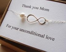 Thank You Mom Infinity  Bracelet - Eternity Bracelet, Wedding Special Gift, Jewelry Card Set, Mother Gift set