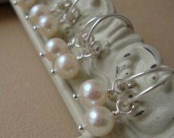SET of FIVE - Bridal Hoops, all sterling silver, fresh water pearls, bridesmaids, bride, wedding gift, bridal pearl earrings