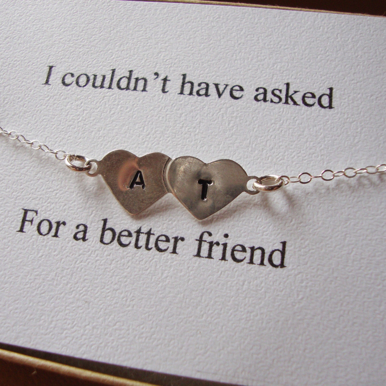Wedding Gift Ideas For Best Friend Girl: Best Friends Bracelet Hand Stamped Hearts Engraved Initials