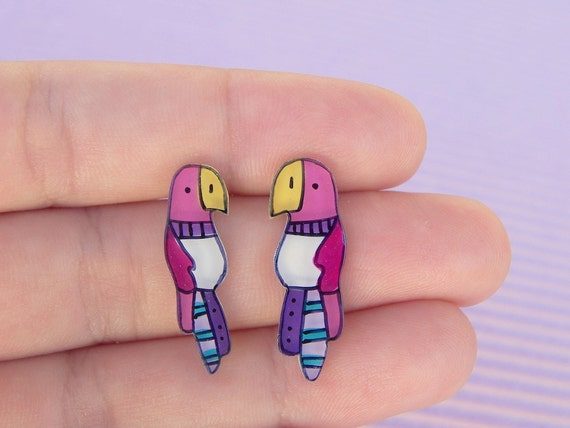 Parrots studs earrings