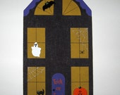 Haunted House Bulletin Board with Spooky Ghost Jack-O-Lantern and Vampire Bat Push Pins