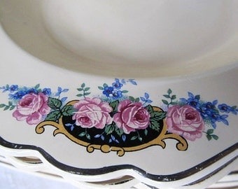 SALE Antique Art Deco 1920's -30's Set Of 4 Pink Rose Luncheon And Dinner Plates Was 34.99 Now 29.99