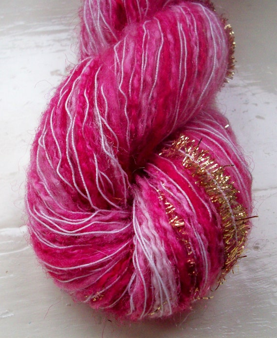 Novelty Yarn : Hand painted yarn, novelty yarn, raspberry red 50g by SpinningStreak
