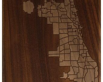 Chicago Neighborhood Map 7x7 - Walnut