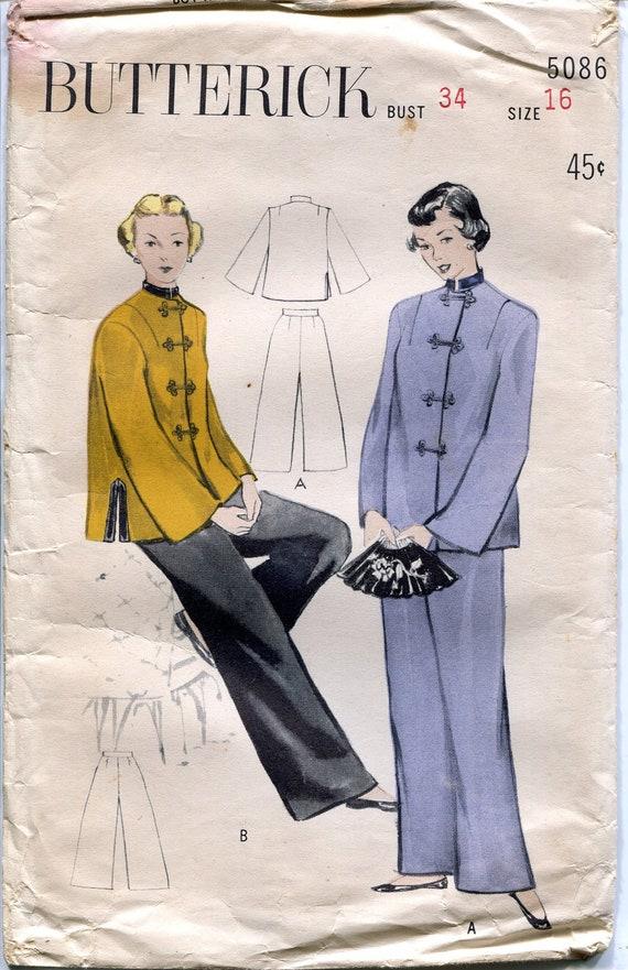 Vintage 1940s Mandarin-style Lounging Pajamas Pattern, Butterick 5086, Size 16, Bust 34