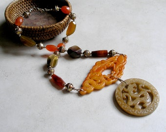 Carved Jade Dragon Necklace Ethnic Beaded Statement Necklace Earth Tones Gemstones Jade Carnelian Sterling Silver Mixed Metals