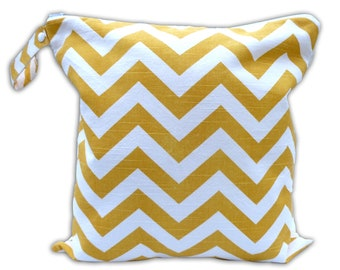 HEAT SEALED and BEST Selling Wet Bags here -Small Wet Bag in Yellow Chevron with Snap Handle