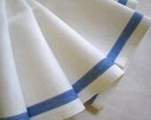 RESERVED SYDNEY Vintage Kitchen Towel Navy Blue Stripe Circa 1950 Cotton Feedsack Muslin Fabric
