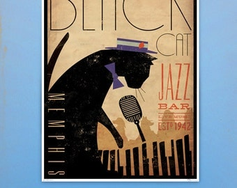 Black Cat Piano Jazz Bar artwork original graphic illustration signed archival artists print giclee by Stephen Fowler