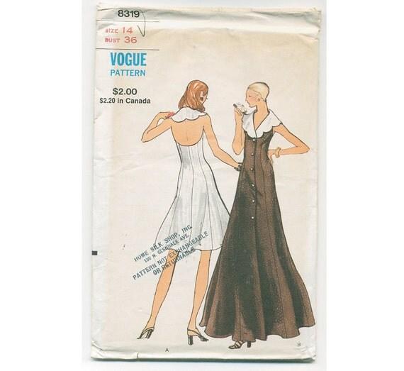 1970s VOGUE Dress Pattern - Uncut - Bust 36