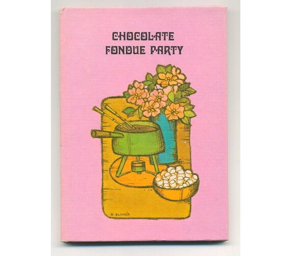 Vintage 1971 Tiny Pink Chocolate Fondue Party Cook Book