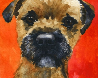 Border Terrier Art Print of Original Watercolor Painting - 8x10