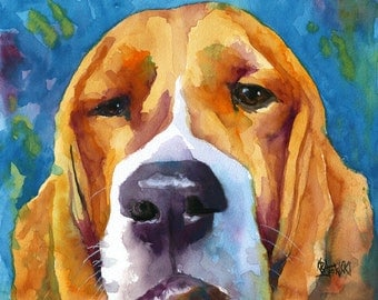 Basset Hound Art Print of Original Watercolor Painting - 11x14 Dog Art