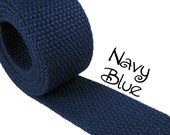 "Cotton Webbing - Navy Blue - 1.25"" Medium Heavy Weight for Key Fobs, Purse Straps, Belting - SEE COUPON"