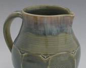 Stoneware Pitcher in Celadon Blue-Green with Faceted Base