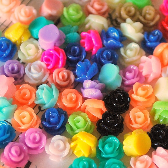 20 Pc. Tiny Resin Rose Flower Cabochons 7.5 mm