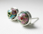 Stud Earrings 6mm Turquoise Blue Cloisonne Sterling Silver Wire Wrapped