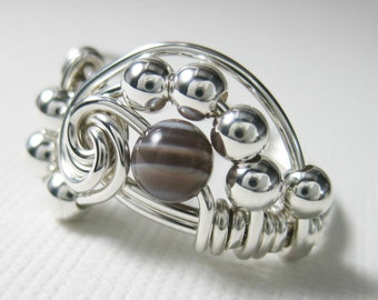 Pi -- Wire Wrapped Ring Botswana Agate and Sterling Silver -- Math Jewelry