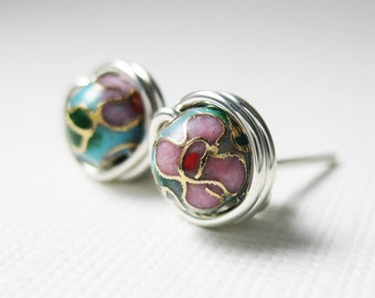 Stud Earrings 6mm Cloisonne Sterling Silver Wire Wrapped - Other Colors Available