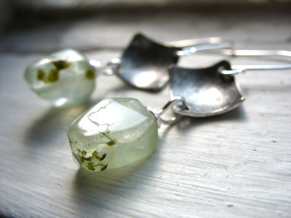 Prehnite Earrings, Prehnite Stone Silver Diamond Dome Metalwork Earrings, Handmade Earrings, FREE Shipping