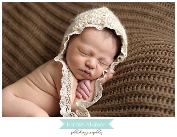 newborn baby girl bonnet photography prop
