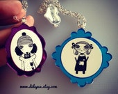 Amorissimi purple or blue FRAME Necklace - select the character and color frame