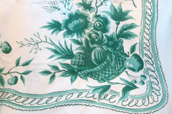Vintage Green Floral Table Cloth