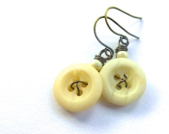Off-White Vintage Button Dangle Earrings -Shabby Chic
