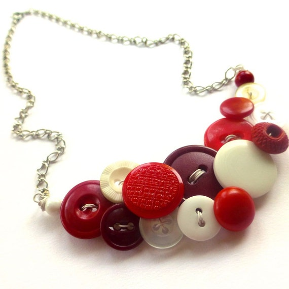 Candy Cane Red and White Vintage Button Statement Jewelry Necklace
