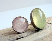 Phrenite and Pink quartz sterling silver ring
